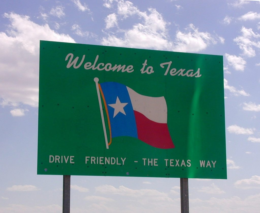 Texas likes to remind out of state drivers to drive friendly.