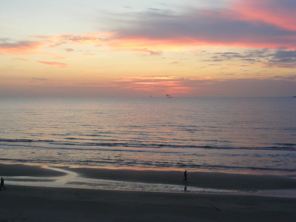 Early risers can catch magnificent views of the sun rising over the Gulf at Mustang Island.