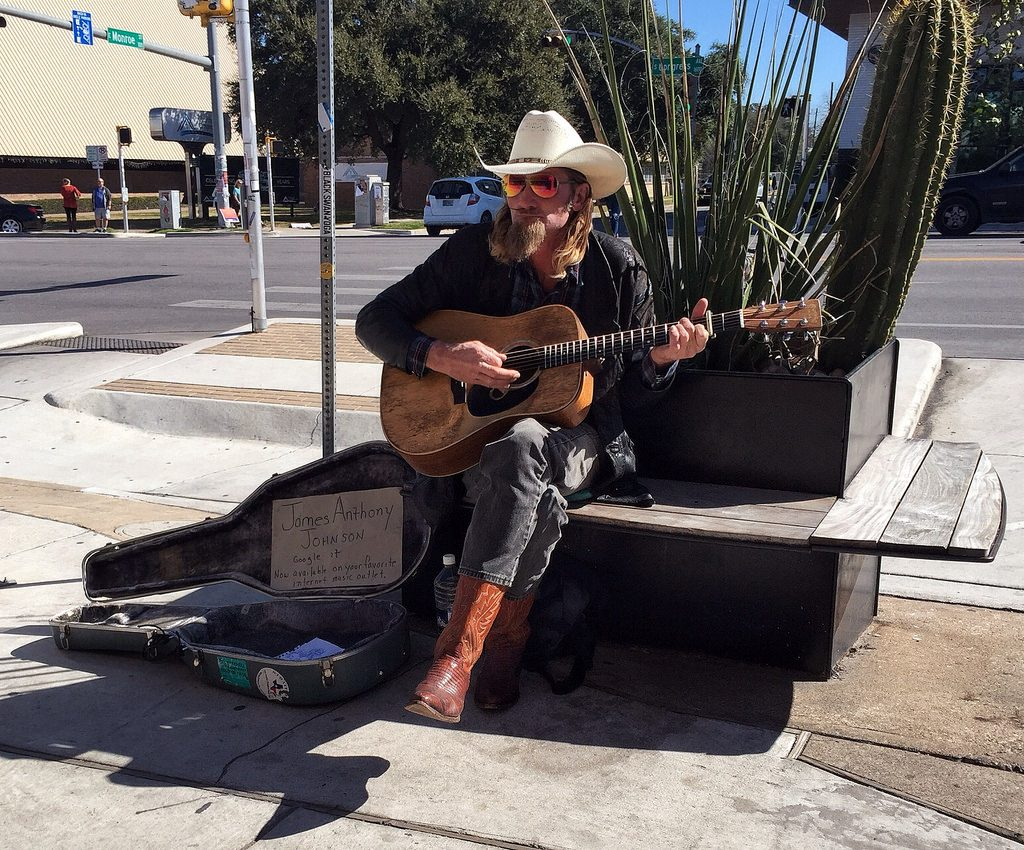 In Austin, there's entertainment just about everywhere you look. From the cowboy strumming his guitar on a downtown corner, to huge music festivals in Zilker Park. Photo by Flickr user James Loesch.
